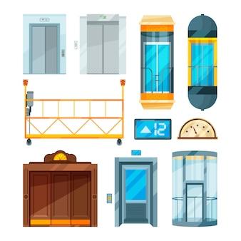 Set di diversi moderni ascensori in vetro