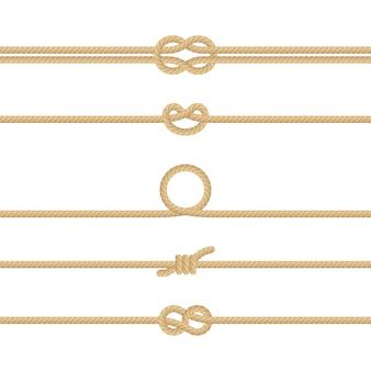 Set di diversi nodi di corda nautica. elementi di decorazione su sfondo bianco.