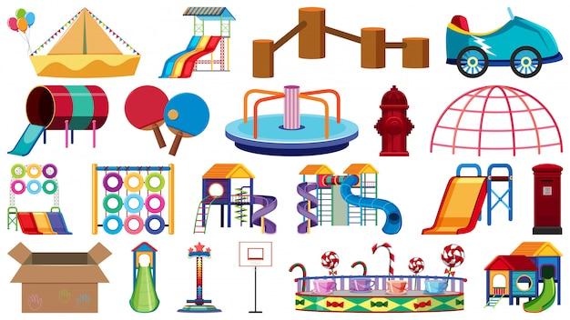 Set di diversi oggetti del parco giochi