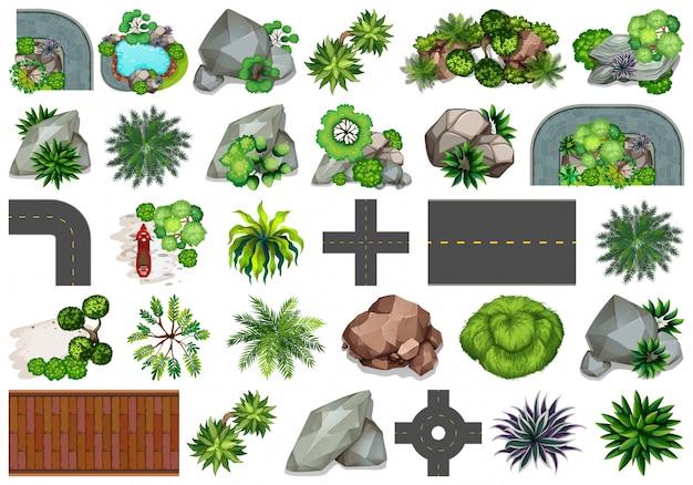 Set di diversi oggetti della natura