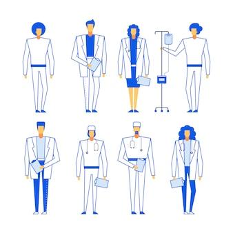 Set di diversi operatori sanitari