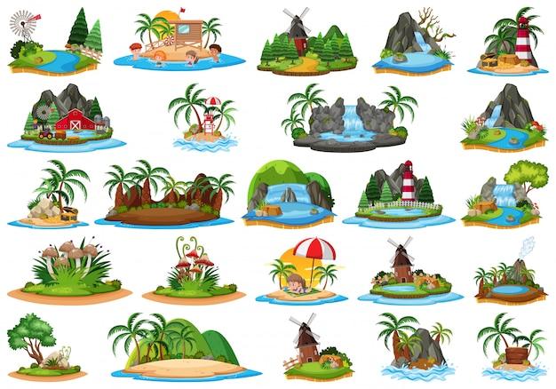 Set di diversi paesaggi dell'isola
