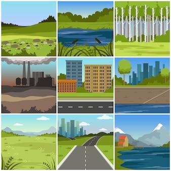 Set di diversi paesaggi naturali estivi, scene di città, fabbrica, foresta, campo, colline, strada, fiume e lago
