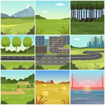Set di diversi paesaggi naturali estivi, scene di città, parco, campo, montagna, strada, fiume e ponte