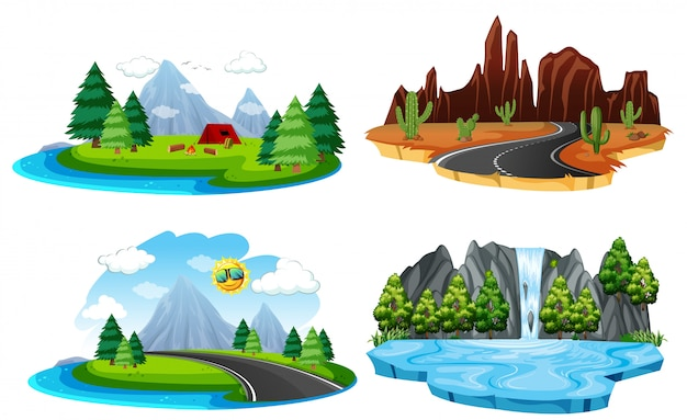 Set di diversi paesaggi naturali