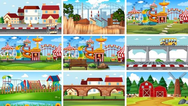 Set di diversi paesaggi