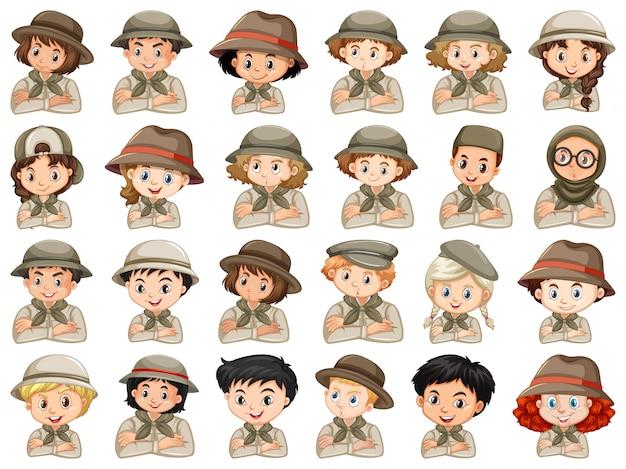 Set di diversi personaggi del costume scout di ragazzi e ragazze