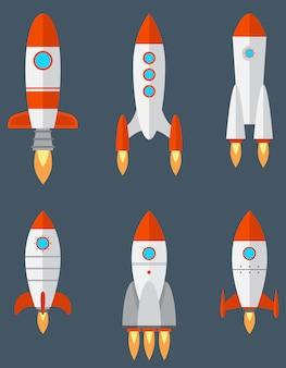 Set di diversi razzi. tecnologia spaziale in stile cartone animato.