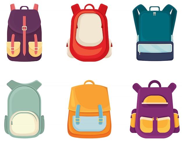 Set di diversi sacchetti di scuola. varietà di zaini per bambini in età scolare.