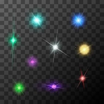 Set di diversi scoppi di stelle con scintillii colorati