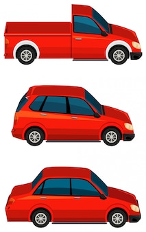 Set di diversi tipi di automobili in colore rosso