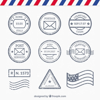 Set di diversi tipi di francobolli post