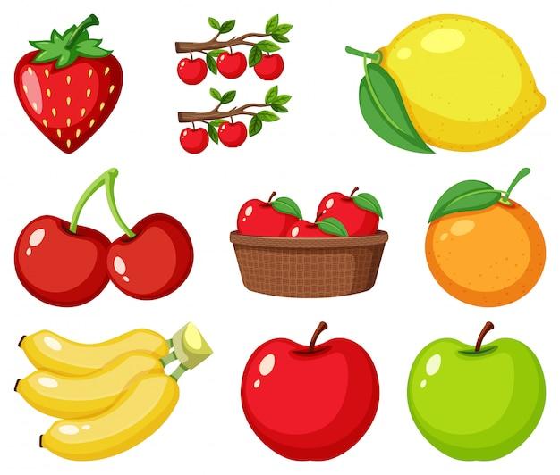 Set di diversi tipi di frutta