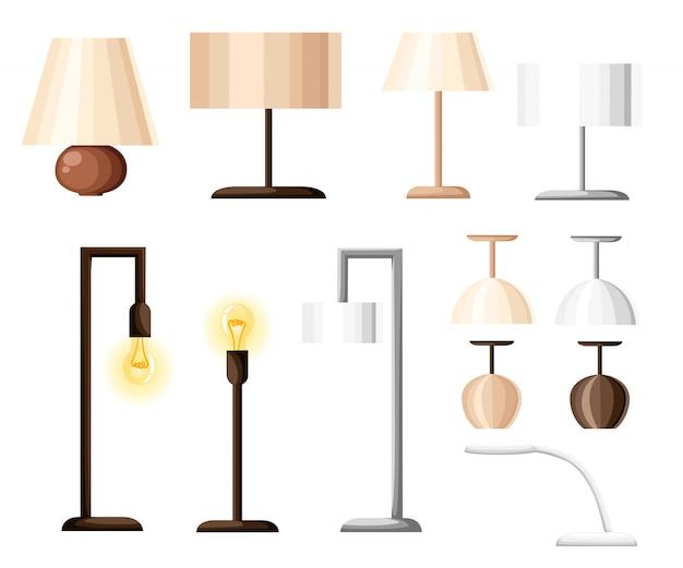 Set di diversi tipi di illuminazione interna: sospensione, plafoniera, faretto, applique, lampade da tavolo, lampada da lettura e lampada da terra. stile piatto.