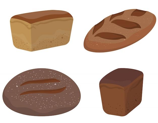 Set di diversi tipi di pane. prodotti da forno in stile cartone animato.
