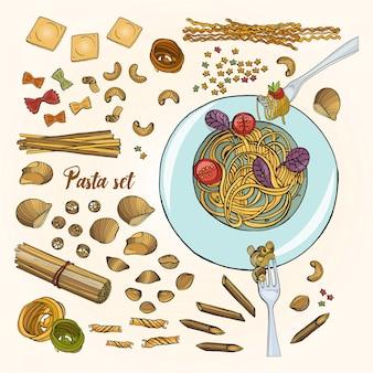 Set di diversi tipi di pasta. spaghetti disegnati a mano colorati collezione