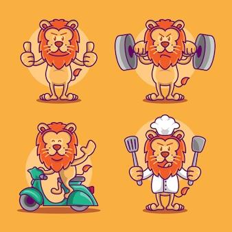 Set di divertente simpatico leone iconico mascotte