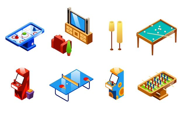 Set di divertimenti e divertimenti sala ricreativa isometrica. ping-pong o ping-pong