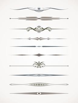 Set di divisori decorativi ornamentali. illustrazione.