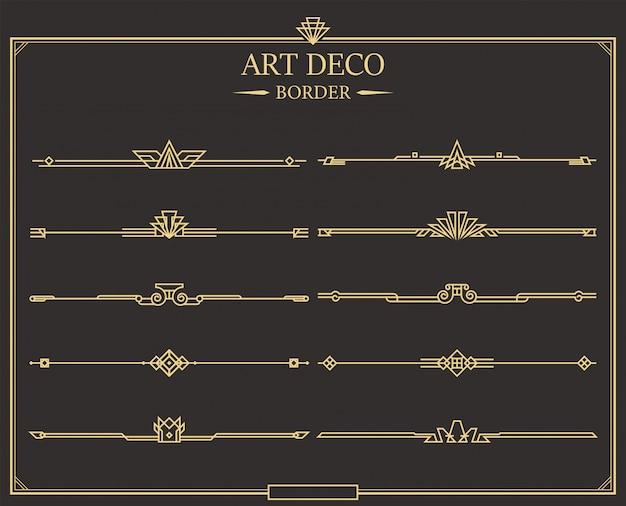 Set di divisori di pagina calligrafica oro art deco.