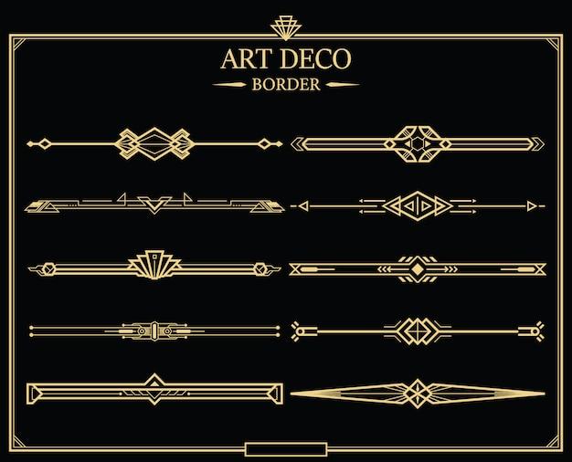 Set di divisori di pagina calligrafici oro art deco.