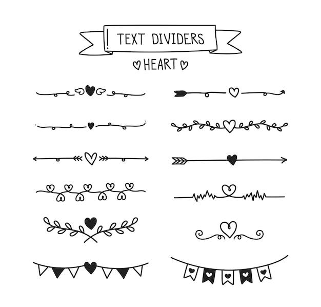 Set di divisori di testo cuore.