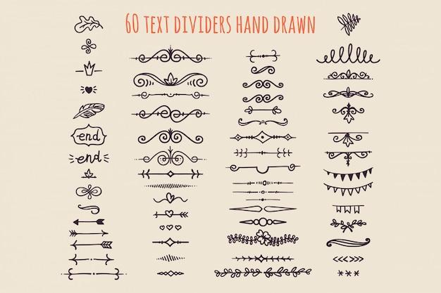 Set di divisori di testo disegnato a mano isolato. vecchia decorazione di carta