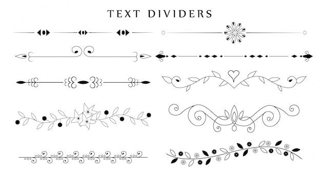 Set di divisori ornamentali di testo