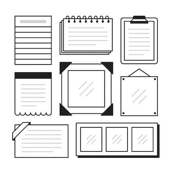 Set di documenti di nota diversi su isolato. illustrazione