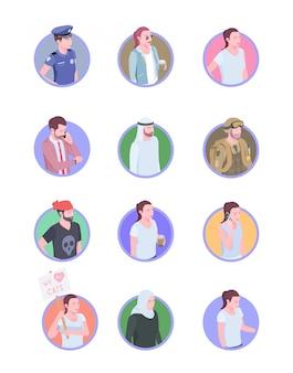 Set di dodici avatar di icone isometriche persone società isolata con personaggi umani doodle