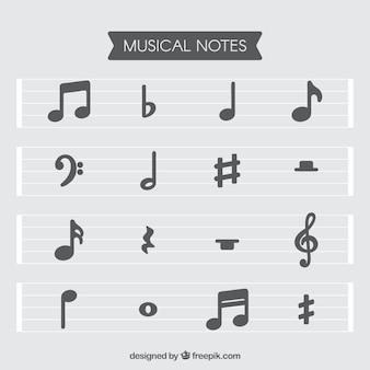 Set di doghe e note musicali in design piatto