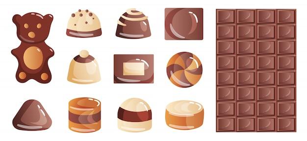 Set di dolci al cioccolato colorati e caramelle dalle scatole per uno spuntino o una pausa caffè.