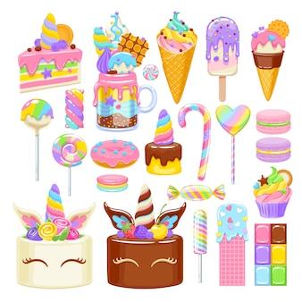 Set di dolci arcobaleno unicorno. caramelle, biscotti e torte assortiti.