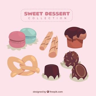 Set di dolci dessert in stile piatto