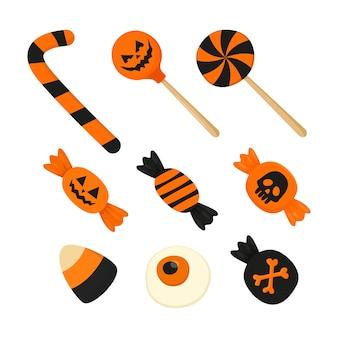 Set di dolci di halloween. caramelle natalizie nei colori arancio e nero.
