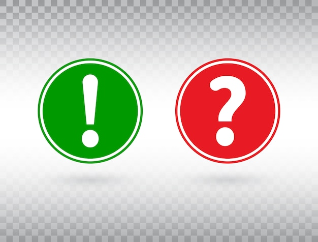 Set di domande e punti esclamativi. aiuto segno e simbolo di avvertimento. cerchio rosso e verde con pulsante di attenzione e punto interrogativo.