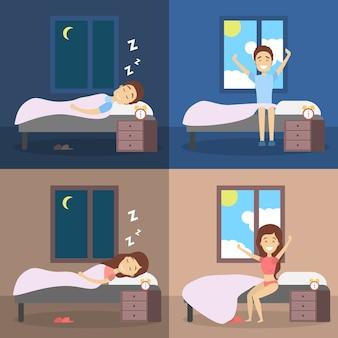 Set di donna e uomo che dorme nel letto e si sveglia con il sole di buon umore. riposo in camera da letto e risveglio mattutino. illustrazione vettoriale piatto