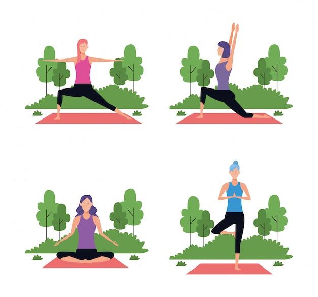 Set di donna in pose yoga