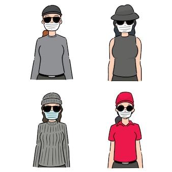 Set di donne che utilizzano una maschera protettiva medica