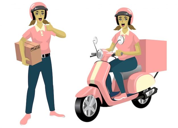Set di donne corriere lavoratore con il suo scooter