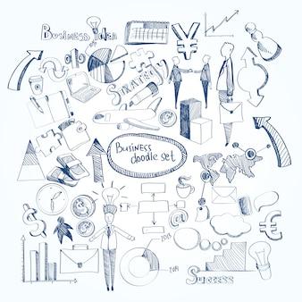 Set di doodle di affari