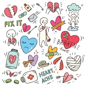 Set di doodle di crepacuore