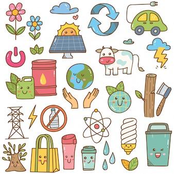 Set di doodle di ecologia in stile kawaii