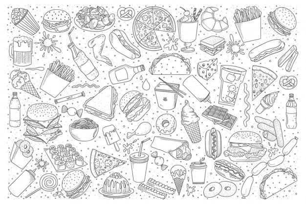 Set di doodle di fast food