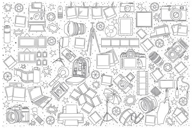 Set di doodle di foto