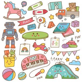 Set di doodle di giocattoli e attrezzature di scuola materna
