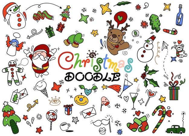 Set di doodle di natale, illustrazione disegnata a mano di doodle