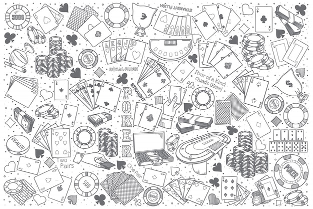 Set di doodle di poker disegnati a mano