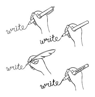 Set di doodle di scrittura a mano