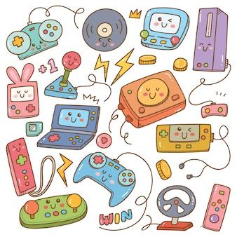 Set di doodle di videogiochi kawaii